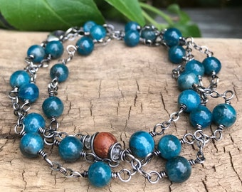 Apatite Bracelet, Wrap Around Blue Energy Bracelet, Beaded Teal Blue Essential Oil Necklace, Diffuser Oil Jewelry, Self Care Gift For Women