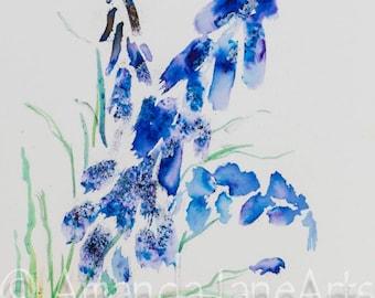 Bluebells flowere painting original watercolour