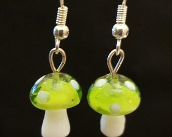 Handmade Green Glass Toadstool Earrings
