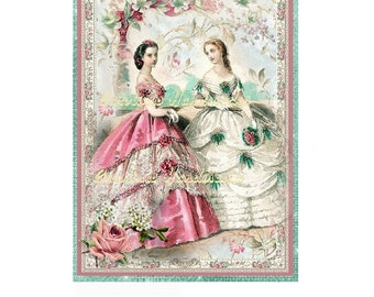 """French Fashion Ladies A Collage Cotton Fabric Quilt Block (1) @ 5X7"""" on 8.5X11"""" Sheet"""