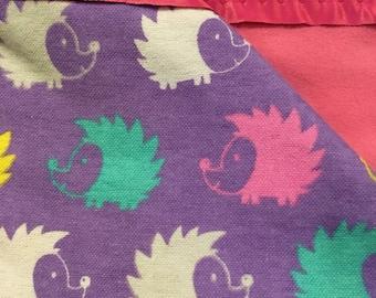Flannel Purple Hedgehog Baby Blanket