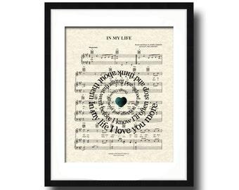 In My Life Song Lyric Sheet Music Art Print, Custom Wedding Gift, Custom Anniversary Gift, Names & Date, Personalized Music Wall Art