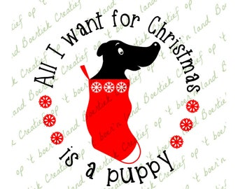 All I want for Christmas is a puppy, cutting file, svg/studio/eps/jpg/png