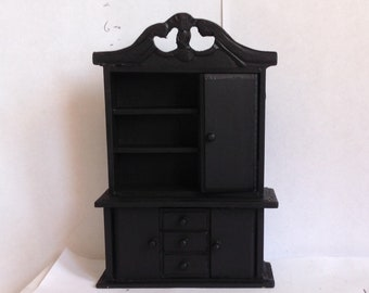 Painted Black Dollhouse Miniature Hutch Cabinet