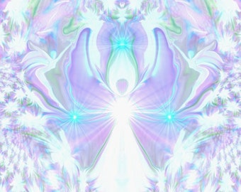 """Crown Chakra Art, Violet White Angel Decor """"On the Wings of Angels"""""""