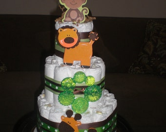 Safari  Jungle Theme Diaper Cake Baby Shower Centerpiece  other colors and sizes too
