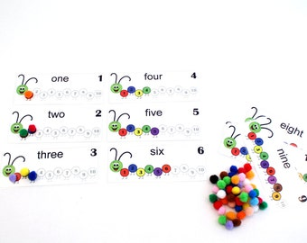 Caterpillar Counting Pom Pom, Counting to 10, Numbers, 1-10, Early Learning, Quiet Book, Pre K, Quiet Activity Montessori Preschool Busy Bag