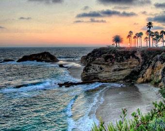 Laguna Beach - Goff Cove Sonnenuntergang 1-11 x 14 Hampel Fotoabzug auf Metallic-Papier