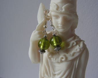 Green earrings glass bead and metal