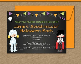 INSTANT DOWNLOAD Halloween Invitation - Printable Halloween Party Invitation - Chalkboard Halloween Invite - Kids Halloween Invitation HCBK