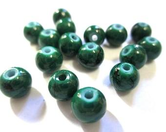 20 black, dark green 6mm glass beads