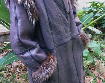 Coat 3/4 women * reversible * leather & Astrakhan * collar Wolf * vintage 80's * good * T: M/L