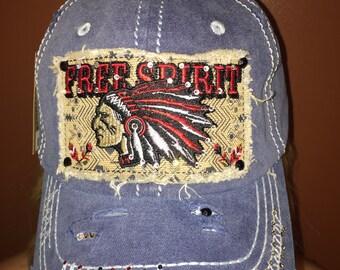 "SWAROVSKI Blue ""FREE SPIRIT"" blinged distressed hat"