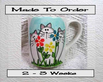 Cats and Flowers Mug 12 Oz. Ceramic  Handpainted by Grace M. Smith