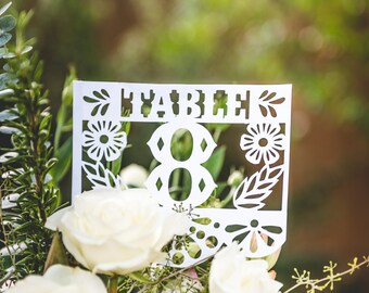 Mexican Wedding Table Numbers, Papel Picado, Mexican Fiesta, Wedding, Centerpiece, Mexican Flags, Rehearsal Dinner, Set of 12
