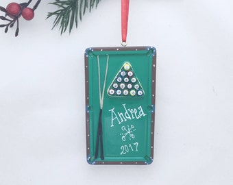 Pool Table Personalized Christmas Ornament / Pool Cue and Pool Balls / Hand Personalized with Name and Message