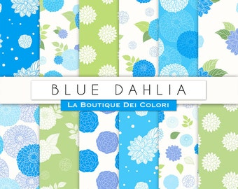 Blue Dahlias Digital Paper - Peonies Flowers Scrapbook Papers Pack - Floral Seamless Backgrounds Patterns