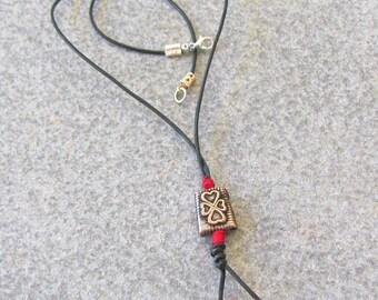 Black Leather Pendant Necklace, Vintage Style Jewelry, Boho Necklet