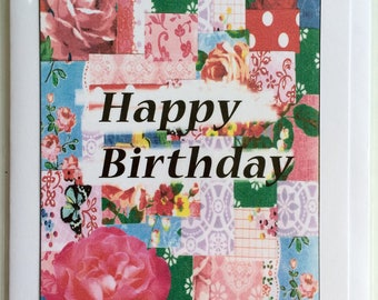 Happy Birthday - A5 Blank Greetings Card From Original Collage