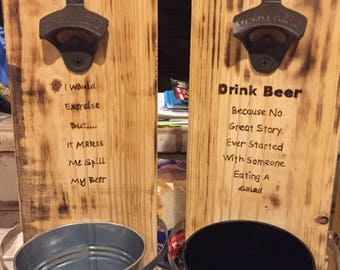 Wood burned beer bottle openers