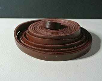 Red brown leather, 10 x 2.2 mm flat cord 50 cm