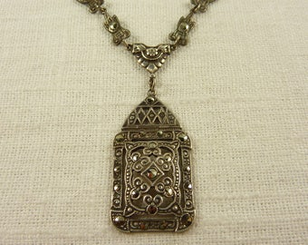 Antique Art Deco Sterling and Marcasite Necklace