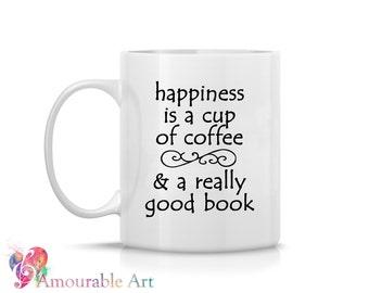 Coffee Mug, Ceramic Mug, A Good Book,  Mug, Coffe Mug  Unique Coffee Mug, 11oz or 15oz Watercolor Art Print Mug Gift, Two-Sided Print