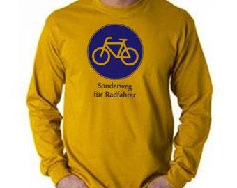 German Biking Long Sleeve T Shirt - Bike Sign - Sonderweg fuer Radfahrer - Small Only - Gold