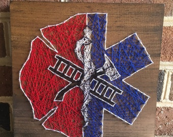 EMS Paramedic/Firefighter Support Emergency Services String Art Wood Sign Wall Art Home Decor