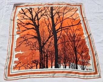 Vintage Vera Silk Scarf / Abstract Tree Motif Vera Scarf / Vintage Silk Scarf