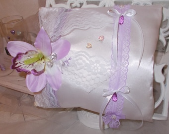 Purple and white wedding ring bearer pillow Purple Orchid