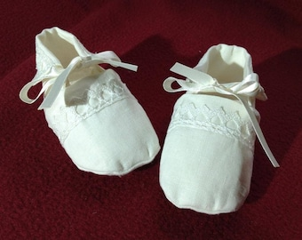 Christening shoes of linen for baby boy