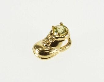 10k August Peridot Birthstone 3D Shoe Sneaker Pendant Gold
