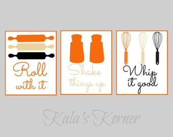 Kitchen art - kitchen wall art print set, roll with it, whip it good, shake it up