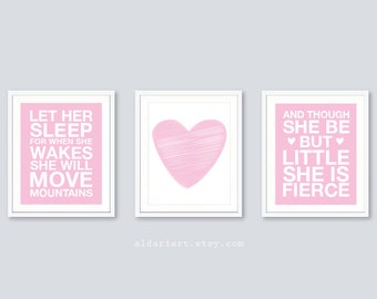 Baby Girl Nursery Prints - And Though She Be But Little She Is Fierce Print - Let Her Sleep Print - Heart Print - Set of 3 prints