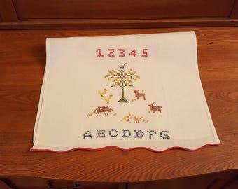 Vintage embroidery sampler kitchen dishcloth - towel