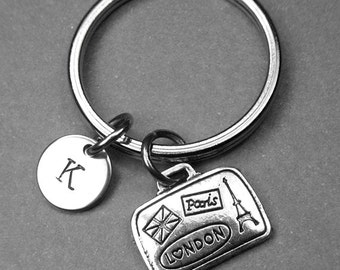 Suitcase keychain, suitcase charm, luggage keychain, traveler keychain, suit case charm, personalized keychain, initial keychain, monogram