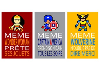 poster with wolverine and Captain America, humour, children wall art, bathroom