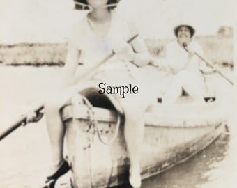 Vintage Photo of Two Women on a Boat