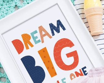 Dream big little one, nursery quotes, kids decor, nursery wall art, kids quotes, modern kids wall art print, kids room decor Dream big print