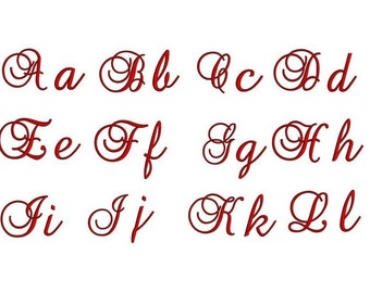 Small Brock Monogram Embroidery Font Upper & Lower Case Satin Stitch Digitized -Instant Download-1,2,3 inch