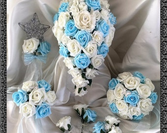 Wedding Flowers Light Blue  & Ivory wedding bouquets with butterflies, Brides, Bridesmaids, Flowergirls etc