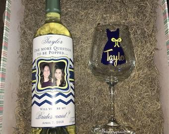 Bridesmaid Wine Labels - Photo Wine Bottle Labels for Bridesmaids - Elegant Custom Labels Weddings