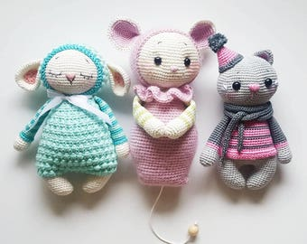 "English combination 3 amigurumi patterns ""Mara the sheep, Leni the mouse, Rosie the cat"" PDF"