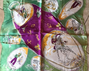 Antique Silk Rodeo Scarf, Oregon Trail Pageant 1950's