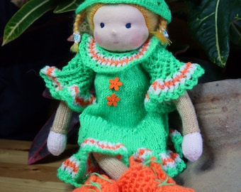 """Waldorf doll, Knitted doll Andrea 14"""" by Indy dolls, soft doll, handmade doll, puppen, rag doll, Steiner doll, art doll, cloth doll, gift"""