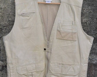 Disney Kilimanjaro Men Safari Men Sleeveless Vest Size MEDIUM Khaki 100% Cotton
