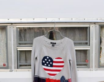 Upcycled, American Flag tunic, recycled top, sweater