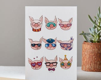 Awesome Pig - art print with pigs by Piggydoodle