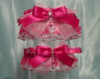 Hot Pink Polka Dot Garter Set
